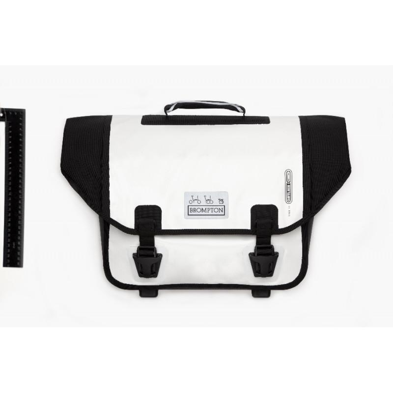 Sacoche Brompton Set O-Bag 20L blanc et noir bagage avant Ortlieb avec bloc de fixation (QOB-WH)