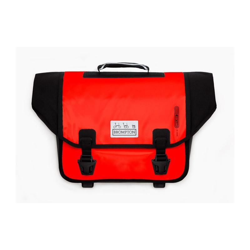 Sacoche Brompton Set O-Bag 20L rouge et noir bagage avant Ortlieb avec bloc de fixation (QOB-RD)