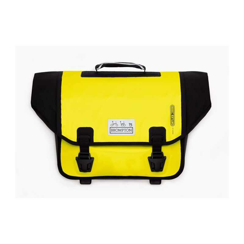 Sacoche Brompton Set O-Bag 20L jaune et noir bagage avant Ortlieb avec bloc fixation (QOB-YE)