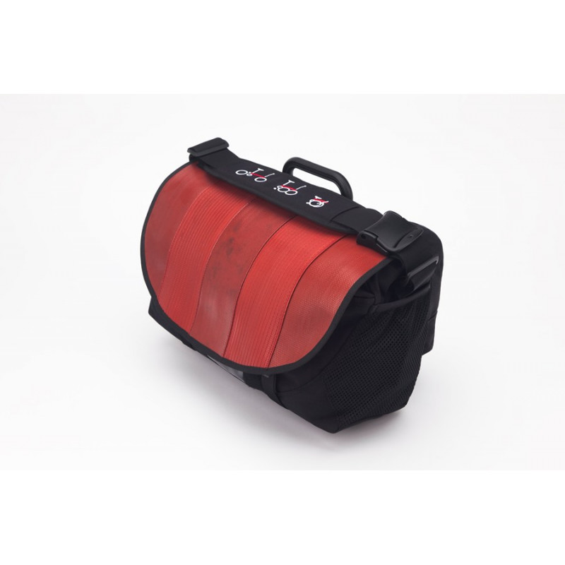 Sacoche Brompton Set S-Bag 20L avec couverture rouge avec bloc fixation et housse de pluie (QSB3-HOSE)