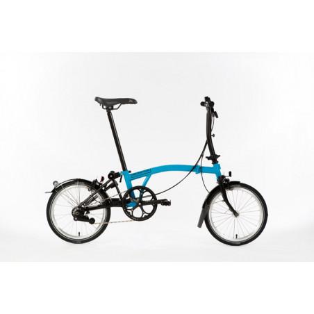 Vélo pliant Brompton Full Black Edition M6L couleur Bleu Lagoon et Noir