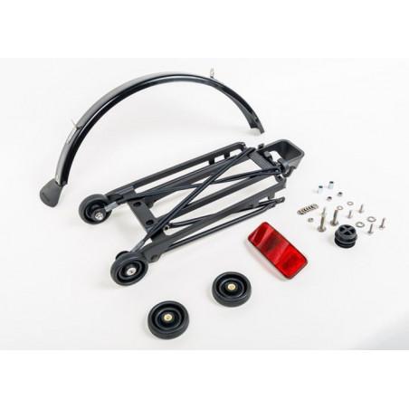 Brompton kit porte-bagage complet avec 4 roulettes (6mm) + garde-boue (noir)