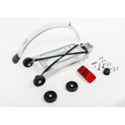 Brompton - Ensemble complet porte-Sacage avec 4 roulettes + garde-boue - orifices de 6 mm (Argent) (QRACKA)