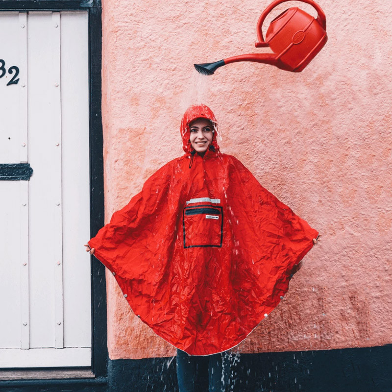 Poncho pluie urbain THE PEOPLE'S PONCHO 3.0 Rouge