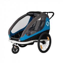 Remorque vélo poussette 2 enfants HAMAX Traveler Bleu