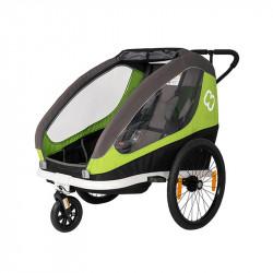 Remorque vélo poussette 2 enfants HAMAX Traveler Vert
